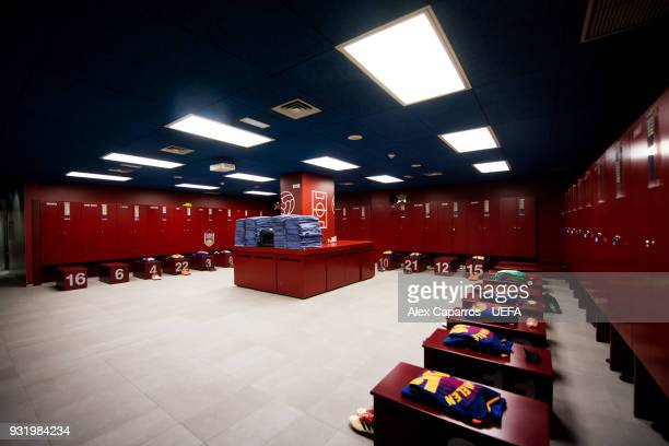 A view of the FC Barcelona dressing room before the UEFA Champions League Round of 16 Second Leg match between FC Barcelona and Chelsea FC at Camp...