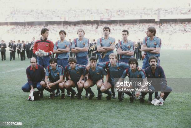 View of the FC Barcelona team squad pictured prior to playing Steaua Bucuresti in the 1986 European Cup Final at the Ramon Sanchez Pizjuan Stadium in...
