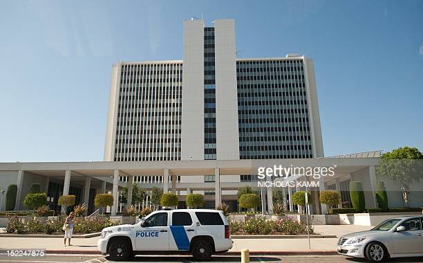 View of the Federal Building in Los Angeles where US Republican presidential candidate Mitt Romney received his first intelligence briefing on...