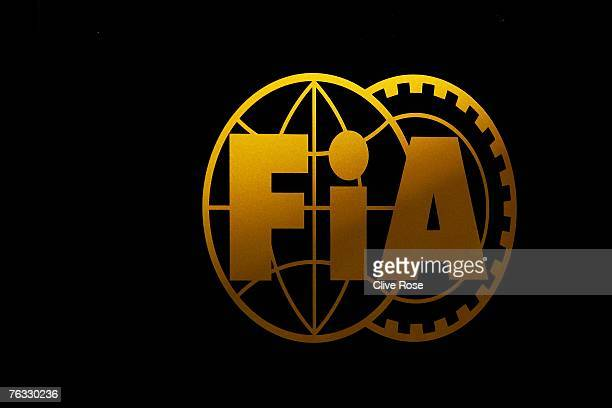 A view of the Federation International De L'Automobile logo on the official FIA motorhome in the paddock after Qualifying for the F1 Grand Prix of...