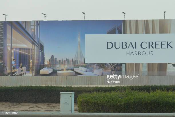 A view of the fence around the construction site of Dubai Creek Tower an upcoming 928m observation tower to be located in Dubai Creek Harbour area at...