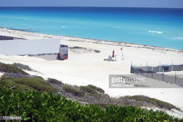 View of the fence constructed by the Solaris Cancun Hotel in the middle of Playa Delfines on May 4 2020 in Cancun Mexico Due to this action the...