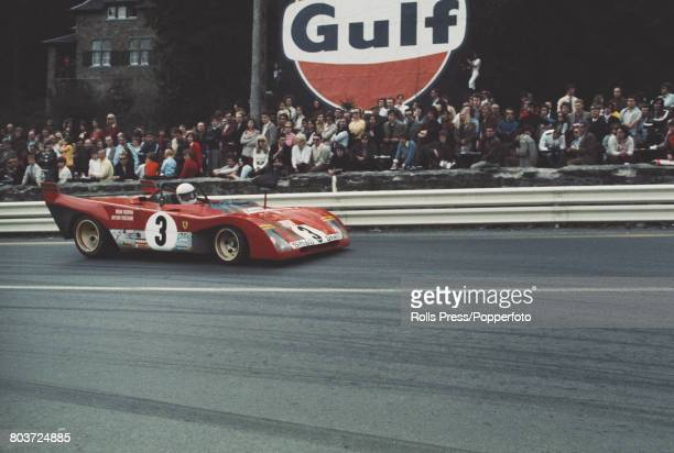 View of the Ferrari 312 PB racing car driven by Brian Redman and Arturo Merzario for SEFAC Team to finish in first place to win the 1000 kilometres...