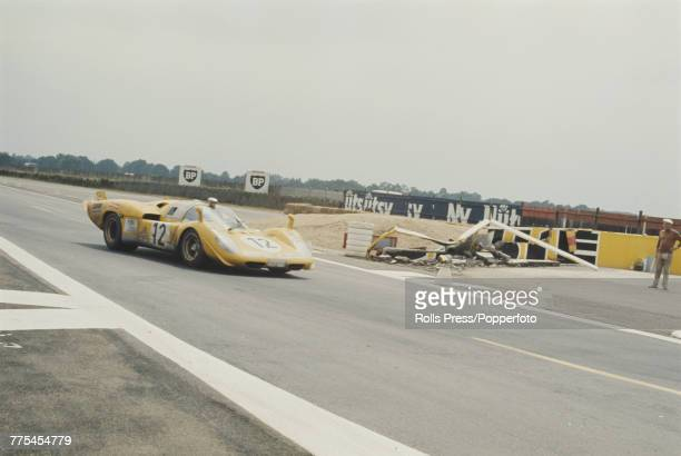 View of the Ferrari 512S Ferrari 50L V12 racing car driven by Hughes de Fierlandt and Alistair Walker for Ecurie Francorchamps Team to finish in 5th...