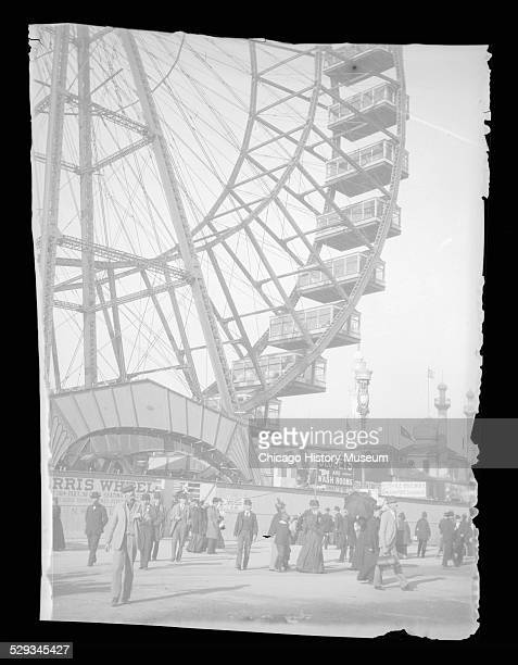 View of the Ferris wheel at the World's Columbian Exposition world's fair Chicago Illinois 1893