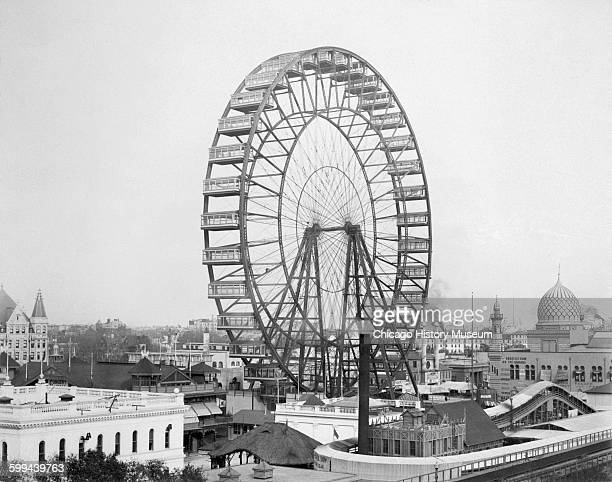 View of the Ferris wheel on the Midway Plaisance at the World's Columbian Exposition world's fair Chicago Illinois 1893
