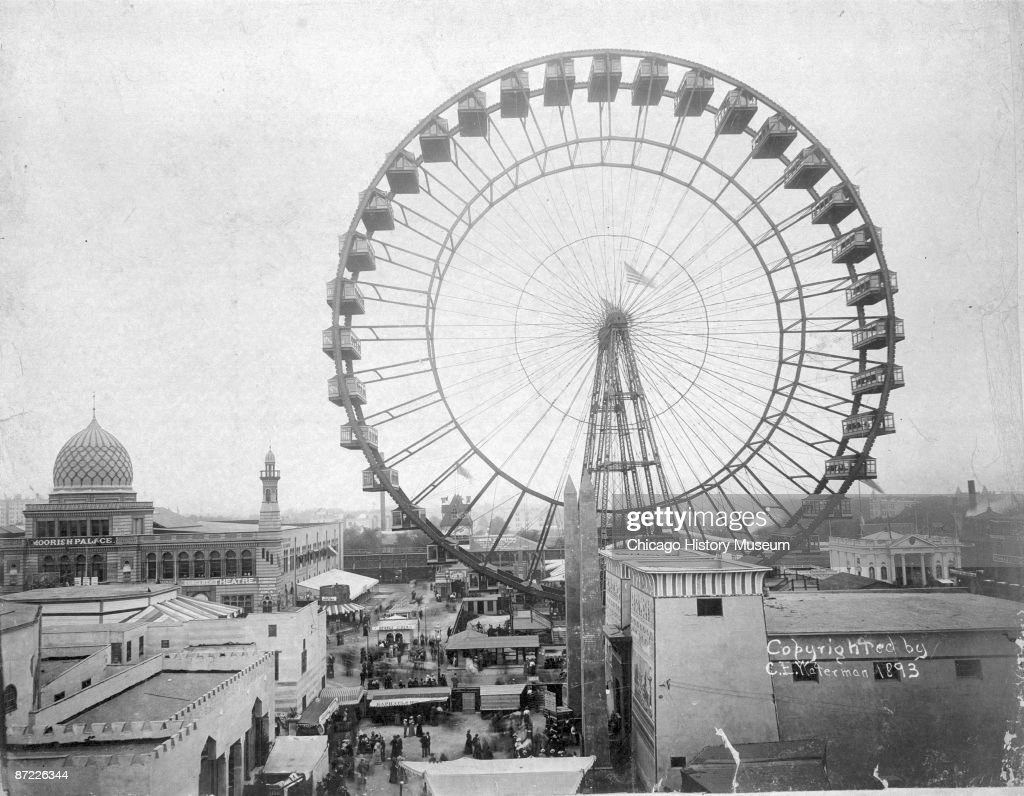 View of the ferris wheel on the Midway Plaisance during the World's Columbian Exposition of 1893, Chicago.