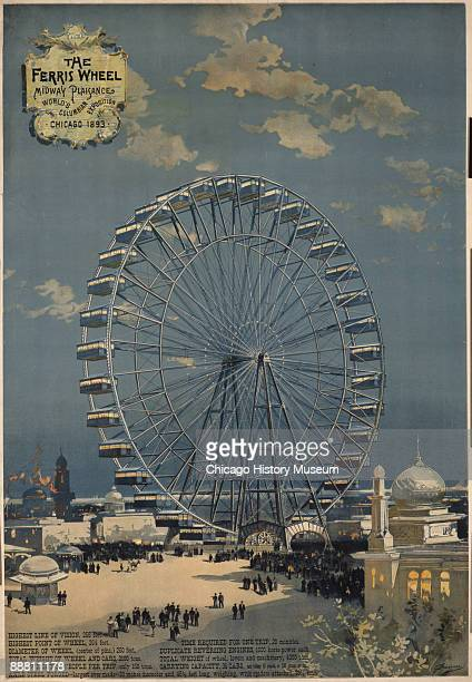 1893Chicago Columbian Exposition with visitors in amusement park Ferris wheel in background 1893 Photograph