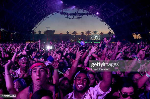 A view of the festival crowd dancing in the Sahara tent during day 1 of the 2015 Coachella Valley Music And Arts Festival at The Empire Polo Club on...