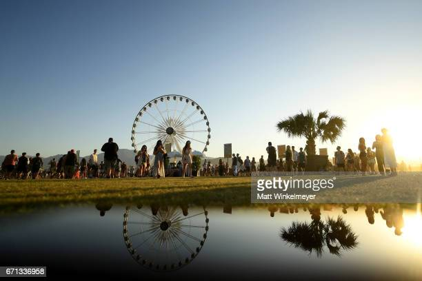 A view of the festival grounds during day 1 of the 2017 Coachella Valley Music Arts Festival at the Empire Polo Club on April 21 2017 in Indio...