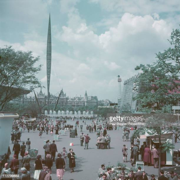 A view of the Festival of Britain site with the Skylon on the left on the South Bank London 1951