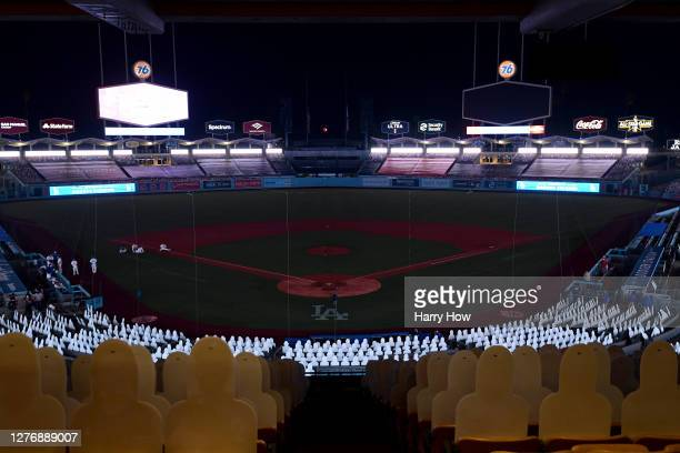 View of the field as the power failure delays the game between the Los Angeles Angels and the Los Angeles Dodgers during the seventh inning at Dodger...