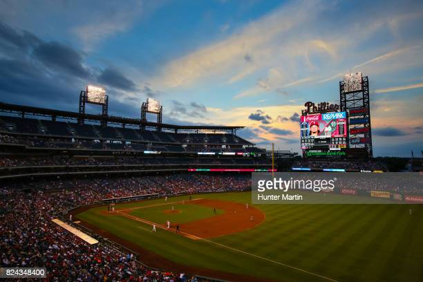 A view of the field at sunset during a game between the Houston Astros and the Philadelphia Phillies at Citizens Bank Park on July 26 2017 in...