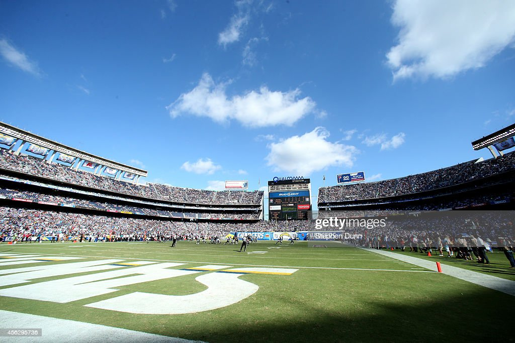 A view of the field during the game between the Jacksonville Jaguars and the San Diego Chargers at Qualcomm Stadium on September 28, 2014 in San Diego, California. The Chargers won 33-14.
