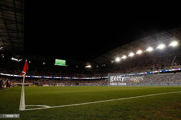 A view of the field is seen during the second half of the MLS AllStar Game at Red Bull Arena on July 27 2011 in Harrison New Jersey