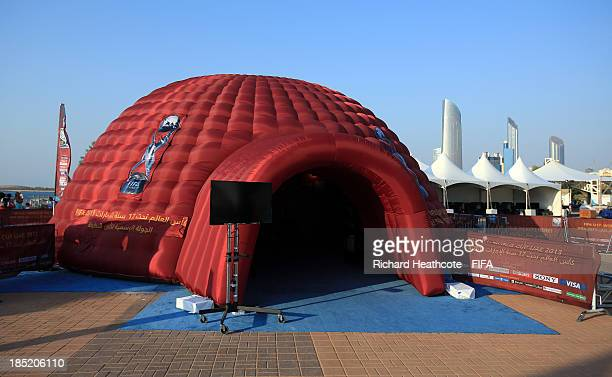 A view of the FIFA U17 World Cup UAE 2013 Fan Park on the Corniche on October 18 2013 in Abu Dhabi United Arab Emirates