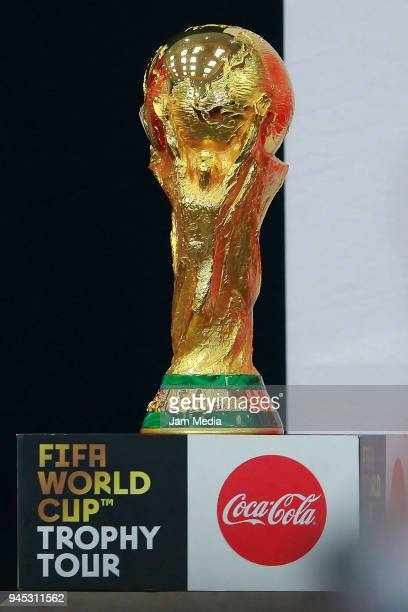 A view of the FIFA World Cup Trophy during the FIFA Trophy Tour at Residencia Oficial de Los Pinos on April 11 2018 in Mexico City Mexico