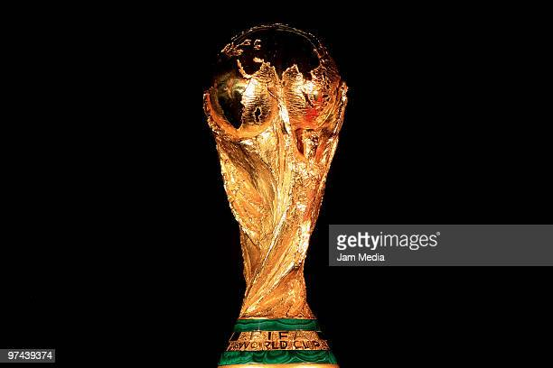 A view of the Fifa World Cup Trophy in exhibition at CocaCola headquarters as part of its world tour on March 4 2010 in Mexico City Mexico