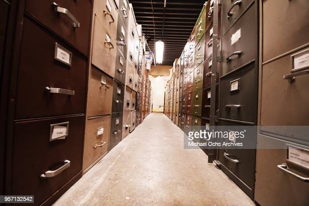 A view of the file cabinets in the Michael Ochs Archives on May 10 2018 in Los Angeles California