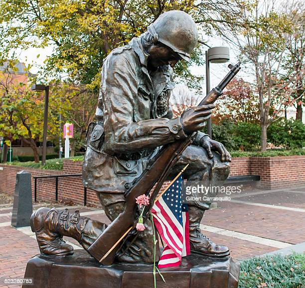 A view of The Final Farewell bronze statue at The Philadelphia Korean War Memorial at Independence National Park at Penn's Landing in Philadelphia Pa...