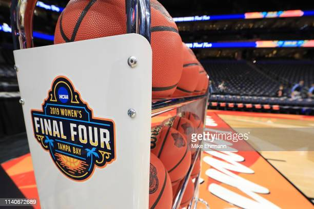 View of the Final Four logo prior to the semifinals of the 2019 NCAA Women's Final Four between the Baylor Lady Bears and the Oregon Ducks at Amalie...
