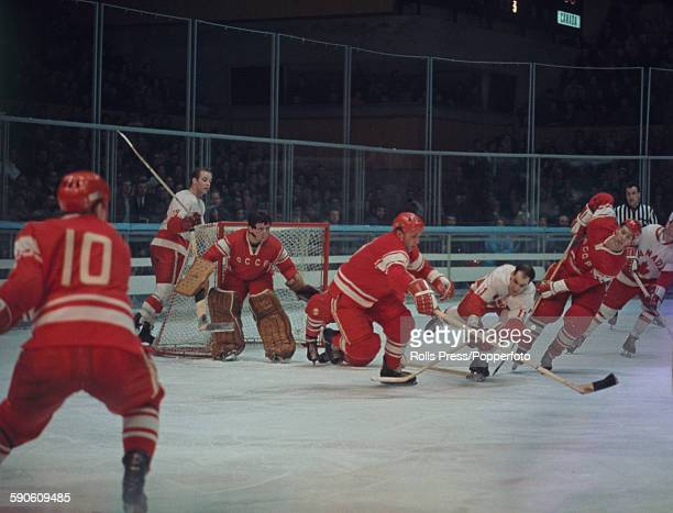 View of the final round of the Men's ice hockey tournament at the 1968 Winter Olympic Games with the Soviet Union playing Canada at the Palais des...