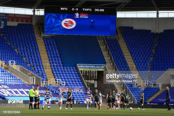 View of the final score after extra time during the Vitality Women's FA Cup Fourth Round match between Reading Women and Tottenham Hotspur Women at...