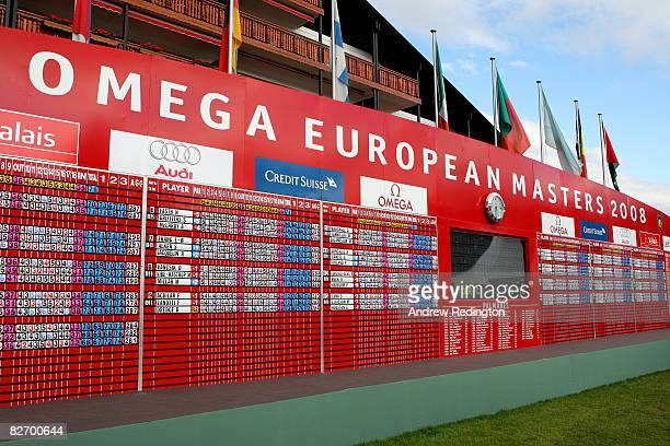 A view of the final scoreboard at the Omega European Masters at CransSurSierre Golf Club on September 7 2008 in Crans Montana Switzerland