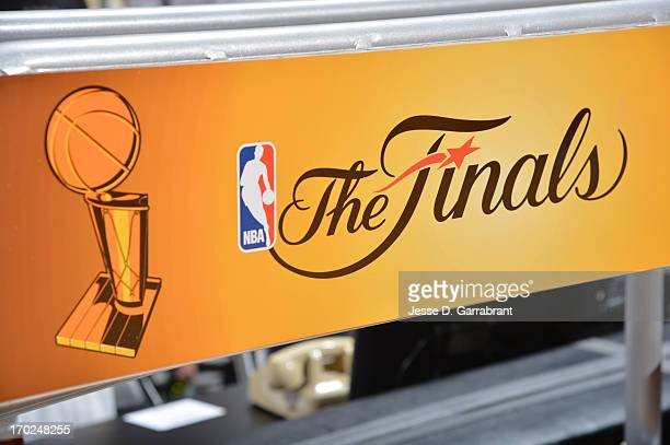A view of the Finals logo between the Miami Heat against the San Antonio Spurs during Game Two of the 2013 NBA Finals on June 9 2013 at American...