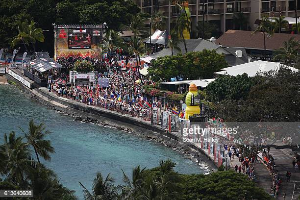 A view of the finish line at the 2016 IRONMAN World Championship triathlon on October 8 2016 in Kailua Kona Hawaii
