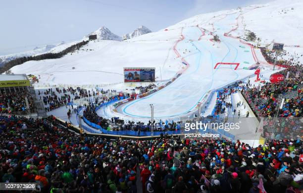 A view of the finish line at the during the women's downhill event at the Alpine Skiing World Cup in St Moritz Germany 12 February 2017 Photo Michael...