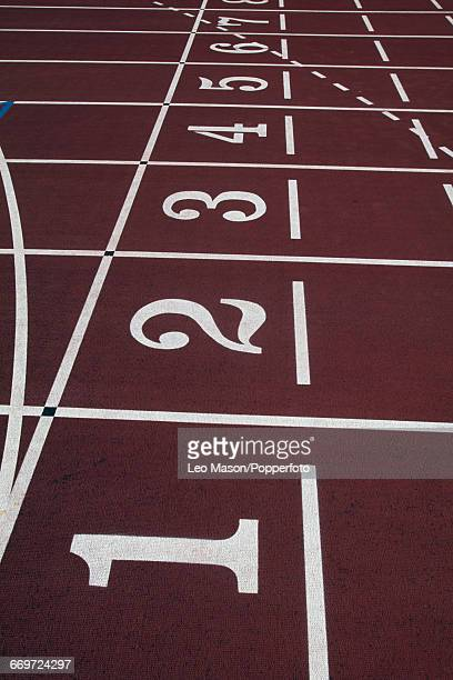 View of the finish line lane markings on the running track at the Ullevi stadium in Gothenburg Sweden during the 1995 World Championships in...