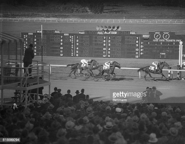 A view of the finish of the first race as the New Santa Anita race track in Arcadia California opened December 25 which was won by Las Palmas with...