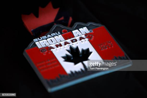 A view of the finisher's medal during the Subaru Ironman Canada triathlon on July 30 2017 in Whistler Canada