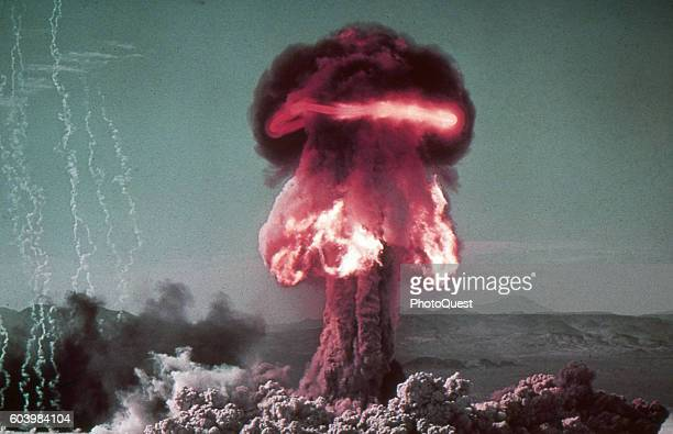 View of the fireball and plume from the Operation PlumbBob shot Priscilla atomic explosion Camp Mercury Yucca Flats Nevada June 24 1957