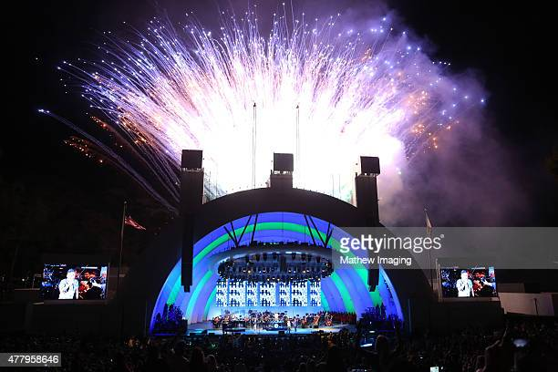 A view of the fireworks display while Journey performs onstage at Hollywood Bowl Opening Night 2015 at the Hollywood Bowl on June 20 2015 in...