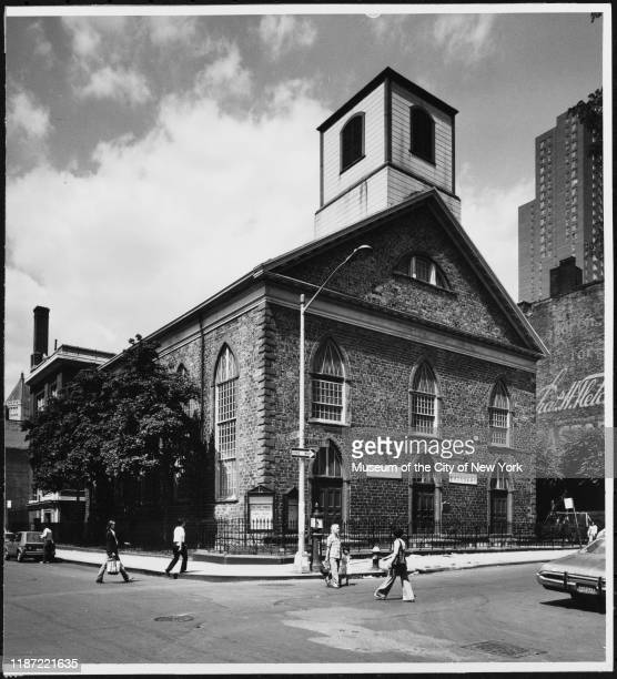 View of the First Chinese Presbyterian Church at 61 Henry Street, New York, New York, circa 1979.