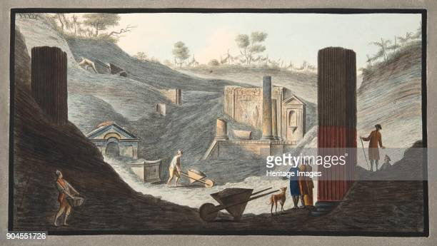 View of the first discovery of the Temple of Isis at Pompeii, Plate XXXXI, from 'Campi Phlegraei: Observations on the Volcanoes of the Two Sicilies',...
