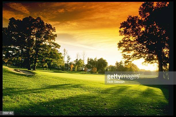 View of the first hole at the Oak Hill Country Club in Rochester New York Mandatory Credit Rick Stewart /Allsport