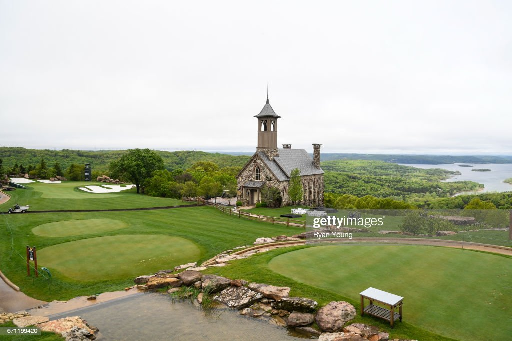 A view of the first hole during the first round, which was suspended due to weather, of the PGA TOUR Champions Bass Pro Shops Legends of Golf at Big Cedar Lodge at Top of the Rock on April 21, 2017 in Ridgedale, Missouri.