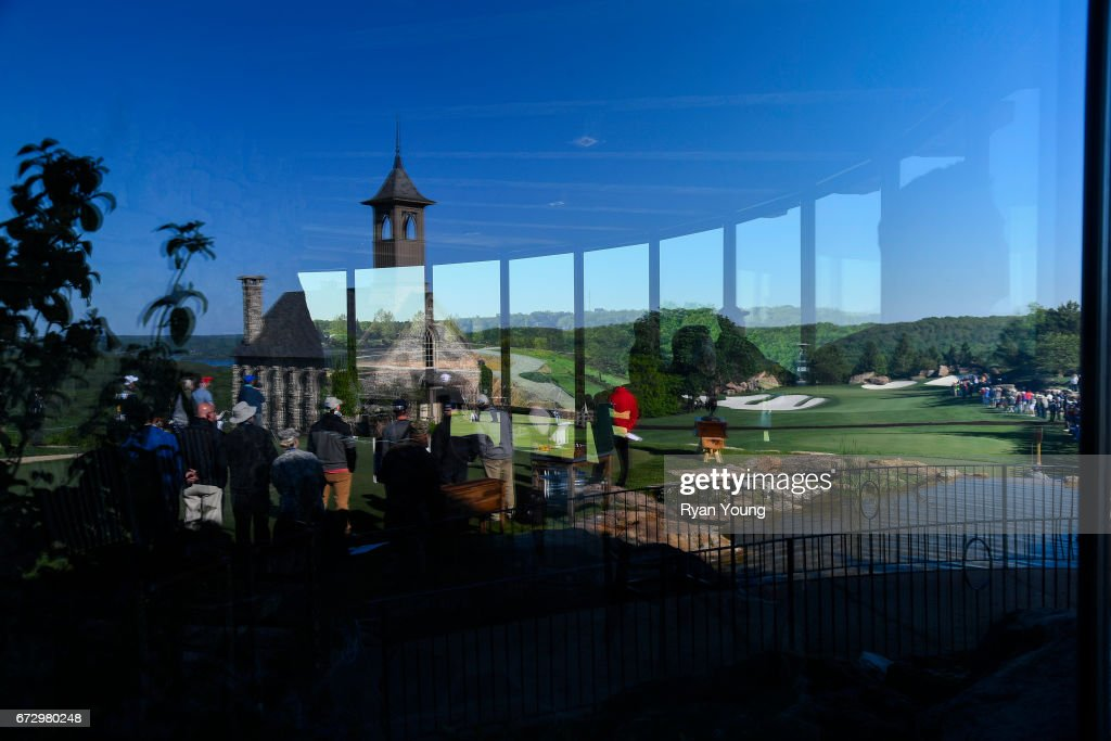 A view of the first hole is seen in the a reflection from the clubhouse during the final round of the PGA TOUR Champions Bass Pro Shops Legends of Golf at Big Cedar Lodge at Top of the Rock on April 23, 2017 in Ridgedale, Missouri.