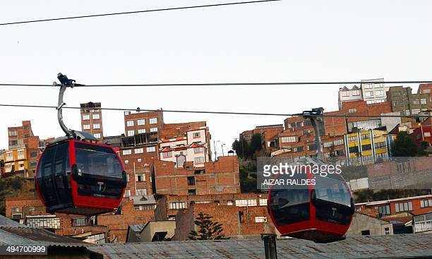 View of the first metropolitan cable railway linking El Alto with La Paz during its inauguration on May 30 2014 AFP PHOTO / AIZAR RALDES