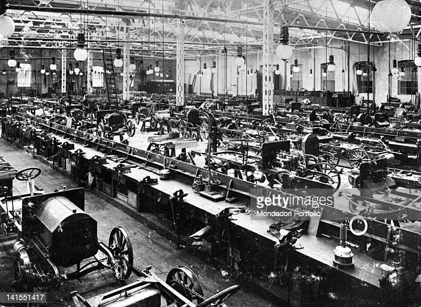 View of the first production line of the Fiat plant Turin 1900s