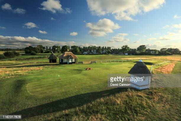 A view of the first tee with the clubhouse behind at Royal St George's Golf Club the host venue for the 2020 Open Championship on July 02 2019 in...