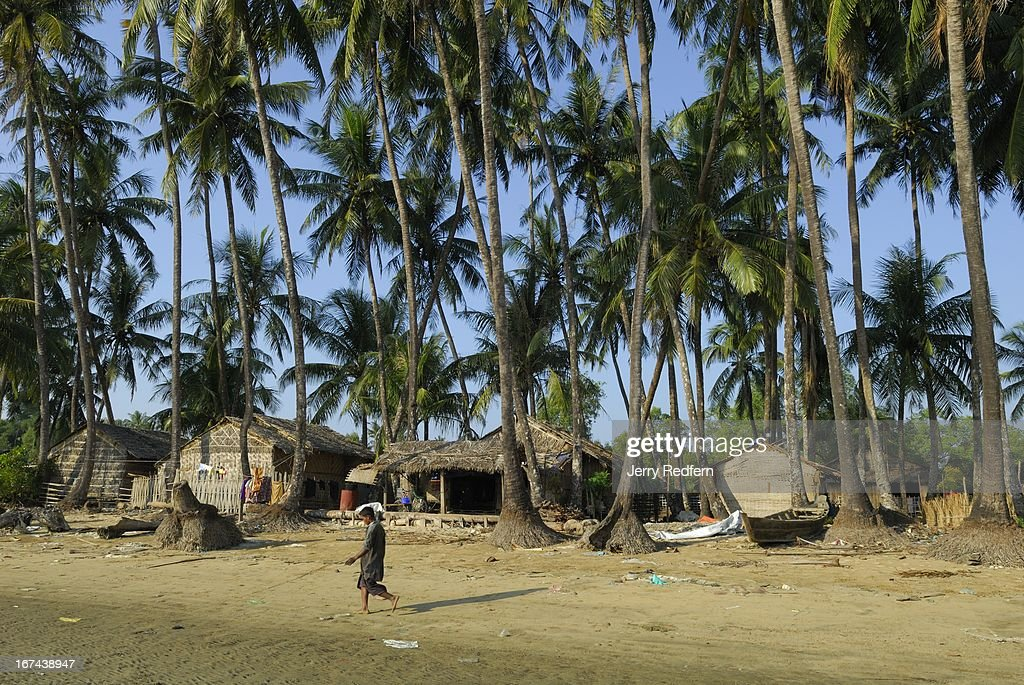 A view of the fishing village near Chaungtha Beach on Burma's Indian Ocean coast. Fishing is a mainstay of the local economy, along with catering to a trickle of foreign and local tourists..