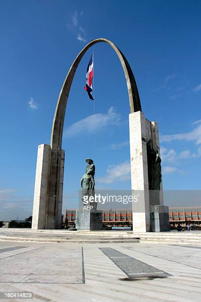 View of the Flag Monument to the Mother Country represented by an Arch of Triumph in Santo Domingo Dominican Republic on February 24 2010 AFP PHOTO /...