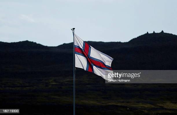 A view of the flag of Faroe Islands on September 7 2013 in Torshavn Faroe Islands
