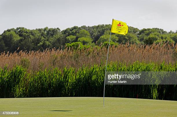 A view of the flagstick bending in the wind on the second hole during the second round of the ShopRite LPGA Classic presented by Acer on the Bay...