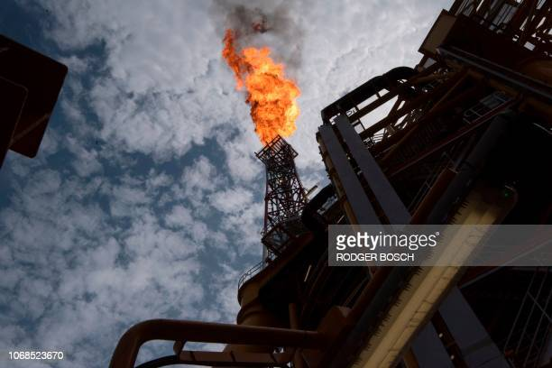 A view of the flare of the Kaombo Norte an oil tanker converted into a FPSO vessel owned by the French Total oil company on November 8 about 250km...