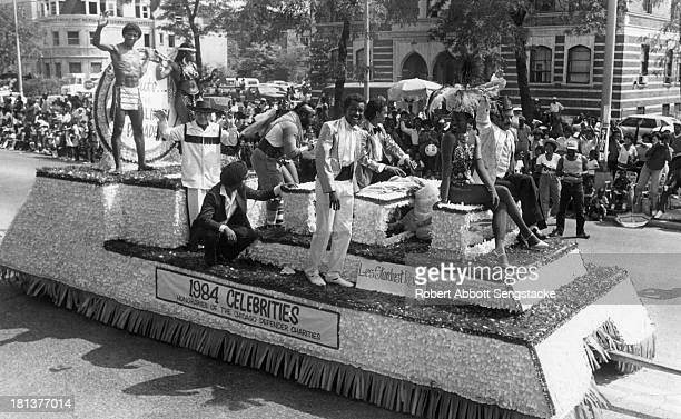 View of the float for the Les Stardust Revue, from the annual Bud Billiken parade, sponsored by the Chicago Defender, Chicago, Illinois, 1984. Among...